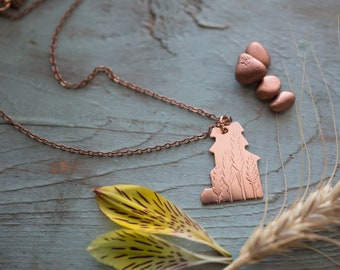 Handmade Copper Wheat Etched Grain Elevator Necklace, Alberta, Saskatchewan, Manitoba