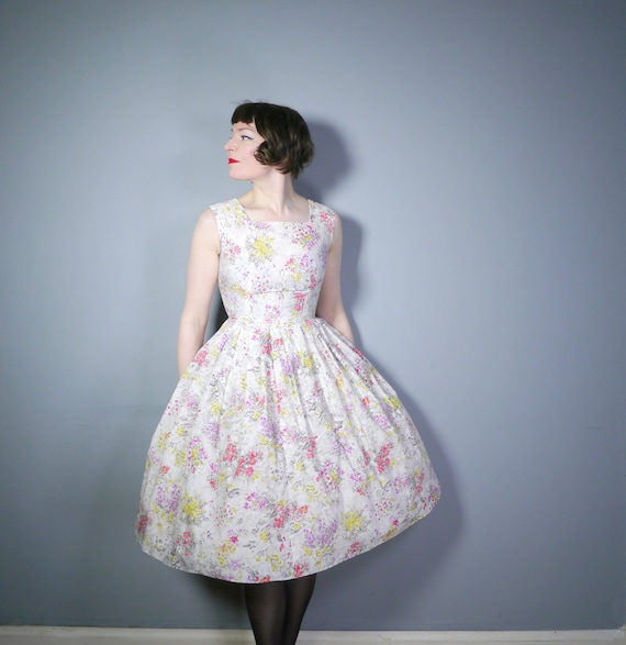 WHITE 50s dress with semi abstract FLORAL print in