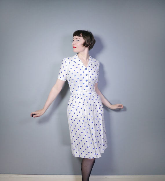 late 40s PEGGY PAGE dress in white with blue POLKA
