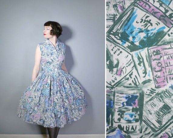 50s NEWSPAPER print dress in soft PASTEL blue, gre