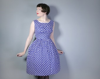 50s blue white POLKA DOT dress with ruched EMPIRE bust and full skirt - Vicky Johnson Mid Century spotty cotton day dress - S