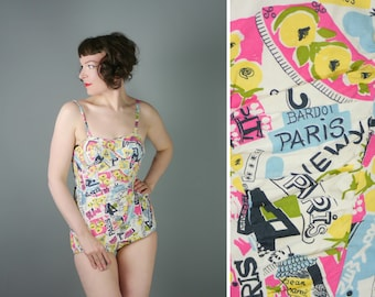 50s cotton swimsuit in in PARIS NOVELTY print - 1950s colourful PASTELS mid century pinup bathing suit - S
