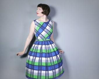 50s CHECK dress in blue, grey, green COTTON - checked Mid Century day dress - m-l