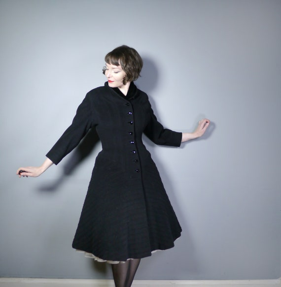 50s PRINCESS coat - 1950s Mid Century fit and flar