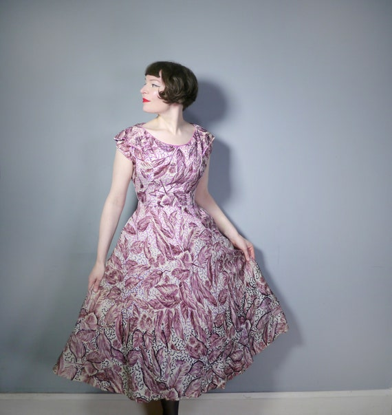 SEQUINNED 40s 50s dress in a FEATHERY LEAF print -