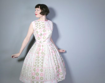 50s 60s full skirted white dress with PASTEL pink and pale green print - ROMANTIC 1950s Mid Century  day dress - s-m