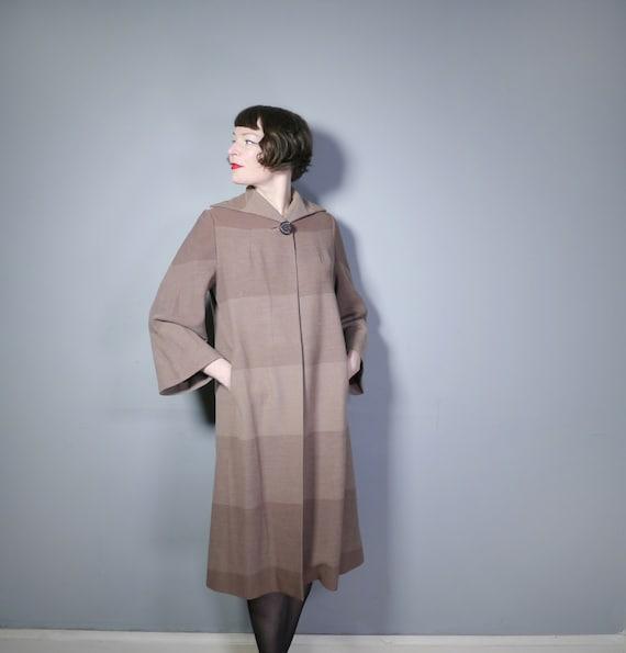 1940s HARRODS brown autumn coat in graduated OMBRE