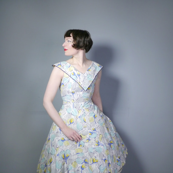 TULIP print 50s dress in white cotton with pastel