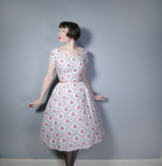 50s HORROCKSES Fashions dress in white cotton with