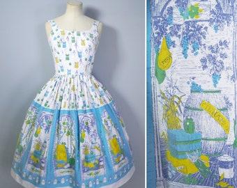 50s NOVELTY border print dress with SPICE bags and VEGETABLE  larder / harvest print - Mid Century full skirted sun dress - xs