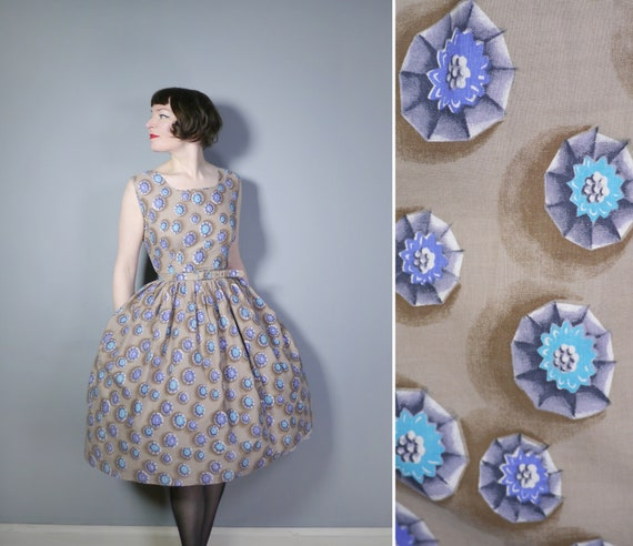 50s novelty GEM print in brown, grey, blue and tur