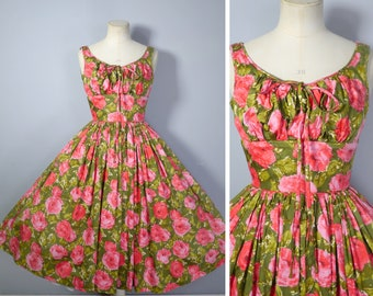 50s VICTOR JOSSELYN red and green FLORAL dress with huge full skirt and ruched empire bust - xs