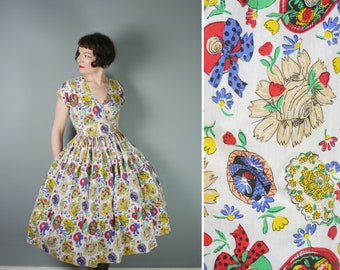 Summer HAT print sun dress with WRAP around design and huge full skirt - 80s does 50s rockabilly NOVELTY print dress - s-m