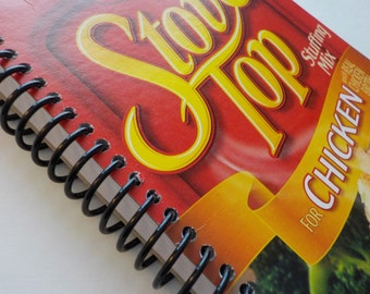 Notebook, 100 sheets, 5.00 X 7.50, Upcycled Notebook, Food Box Notebook, Sketchbook, Spiral Notebook, Stove Top Chicken Stuffing Mix