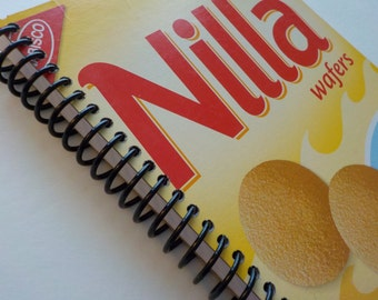 Notebook, 100 sheets, 5.50 X 8.50, Nilla Wafers, Upcycled Notebook, Food Box Notebooks, Unlined Journal, Gifts Under 10, Diary, Drawing