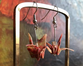 08b04768e Origami Earrings Bird Swan Pink Yellow Handmade Folded Paper Delicate  Dangly Earrings Vintage Jewelry