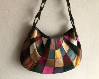 Patchwork Purse Suede Leather Colorful Shoulder Bag Brown Strap Brass Metal  Rings Vintage Distressed Lucky Brand Pink Green Blue Yellow f9133b7888cad