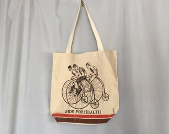 Bicycle Tote Bag Vintage Purse Ride for Health 1979