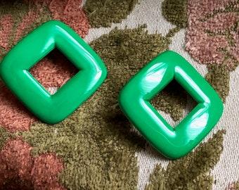 Green Earrings Vintage Metal Squares Post Stud