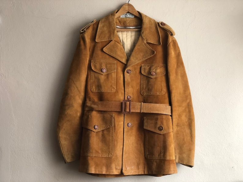 Brown Suede Coat Men S Jacket Tan Leather Plaid Lining Etsy