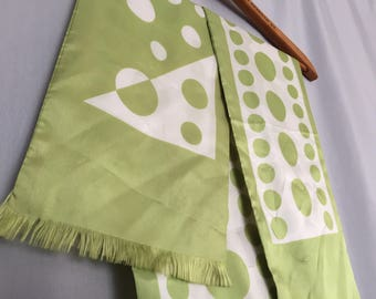 Green Scarf Vintage Cream Dots