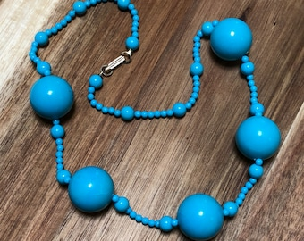 Turquoise Blue Necklace Vintage Round Beads Metal Clasp Plastic Bead Turquoise