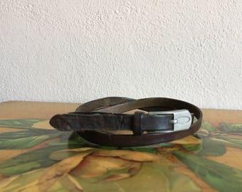 Brown Leather Skinny Belt Distressed