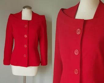 Vintage 1960s Red Structured Jacket / Blazer