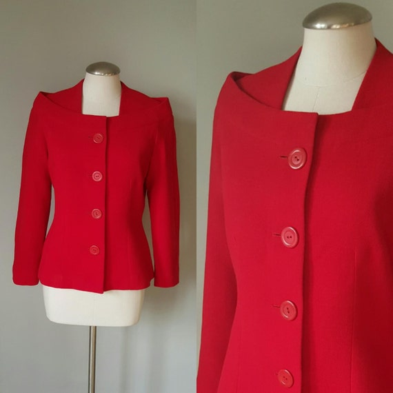 Vintage 1960s Red Structured Jacket / Blazer