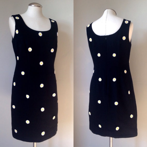 1970's Black Daisy Cotton Dress