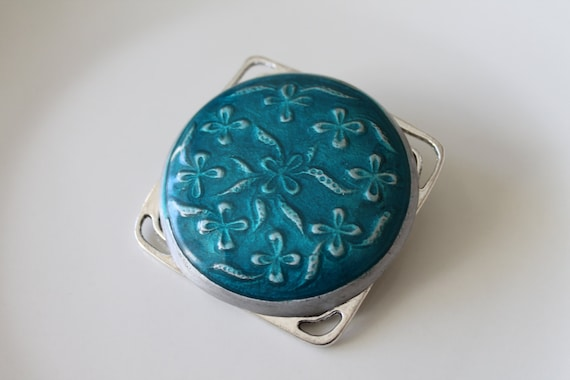 Handpainted Brooch in turquoise