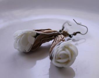 Recycled Aluminum Rose Drop Earrings