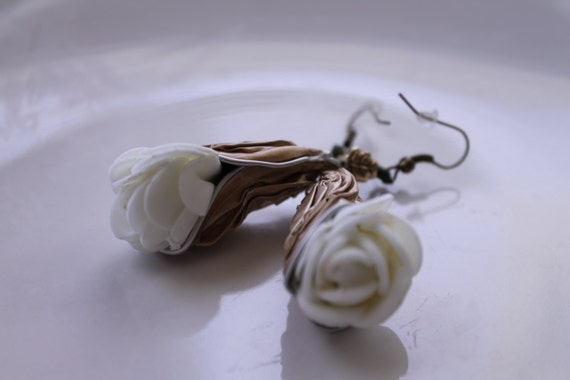 Recycled Aluminum Rose Drop Earrings