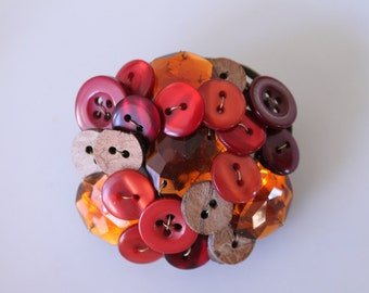 Handmade Brooch in Fall Colors (recycled buttons)