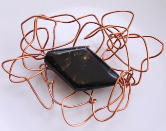 Handmade Copper Brooch - Made with Recycled Copper Strands