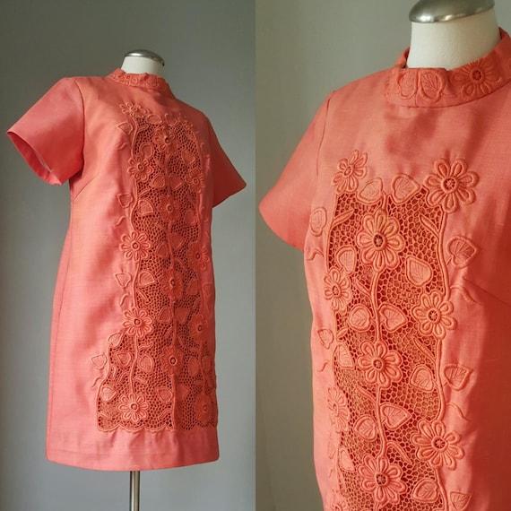 1960s Vintage Novelty Embroidered Cocktail Dress