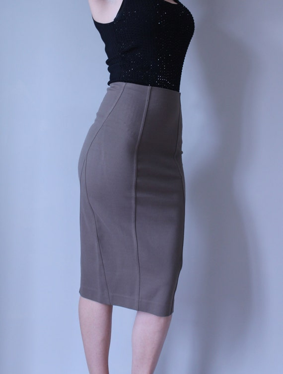 Fitted Pencil Skirt in Beige