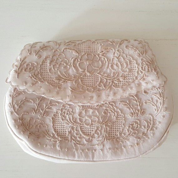 White Embroidered Fabric Cocktail Clutch (with optional strap)