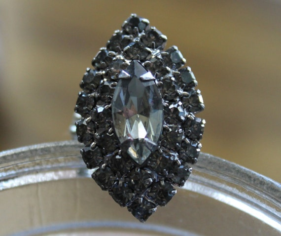 Handmade Ring with Gray Rhinestones One Size