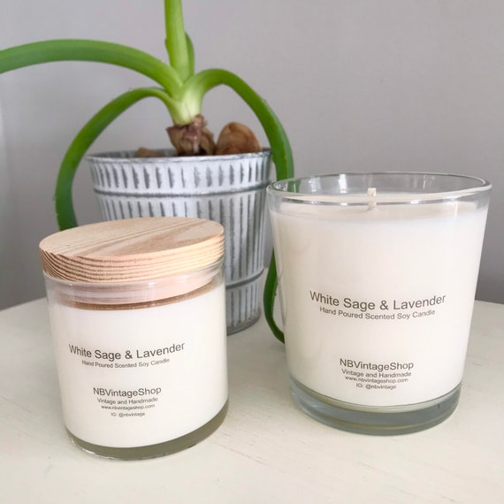 White Sage and Lavender Handmade Natural Soy Candle