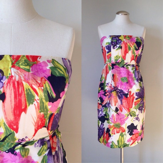 Colorful print satin strapless dress medium