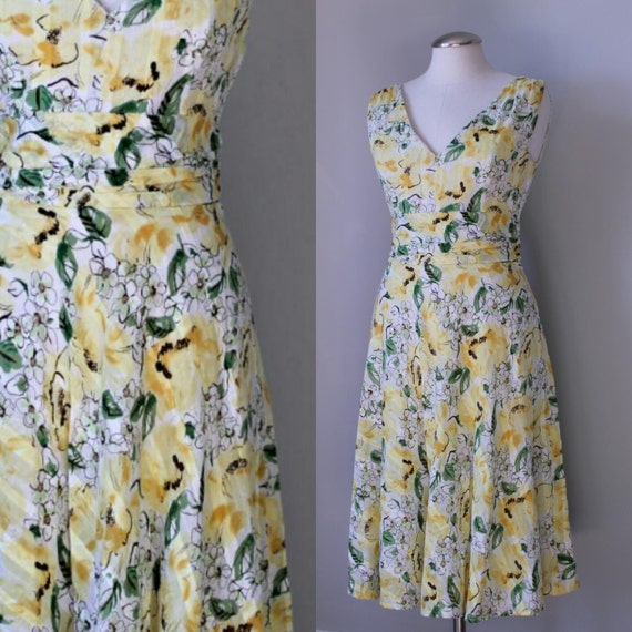 Vintage Sunshine Yellow Floral Cotton Embellished Sundress