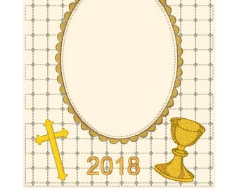 First communion Frame Matte  machine embroidery designs