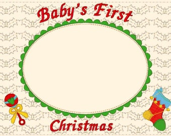 Baby's first Christmas Frame Matte  machine embroidery designs