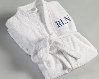 c2813c7bdb19d Personalized Robe for Him - White Terry Cloth Embroidered Robe - Husband  Gifts - Travel Gifts - Robe for Dad - RO017