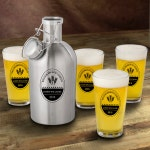 Stainless Steel Beer Growler & Pint Glass Set - Personalized Beer Growler - Beer Growler Set - Groomsmen Gifts - Father's Day Gifts - GC1437
