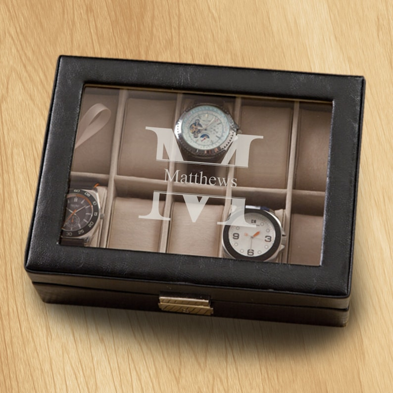 Personalized Men S Watch Box Personalized Watch Box Groomsmen Gifts Gifts For Him Gifts For Dad Gifts For Men Gc1400