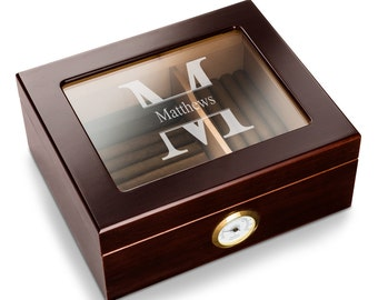 Personalized Glass Top Humidor - Personalized Cigar Humidor - Engraved Humidor - Gifts for Him - Groomsmen Gifts GC1529