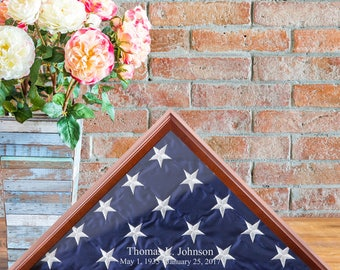 Personalized Flag Display Case - Military Gifts - Memorabilia - Veteran Gifts - American Flag Display - Home Decor - Patriotic Decor - RO160