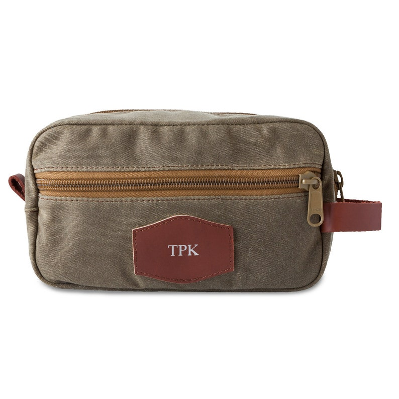b64366a1afc4 Personalized Men's Toiletry Bag - Waxed Canvas – Field Tan - Men's Bag -  Personalized Travel kit - Gifts for Men - Gifts for Him - GC1741